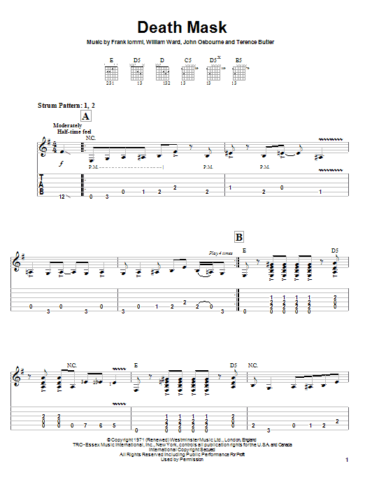 Black Sabbath Death Mask sheet music notes and chords