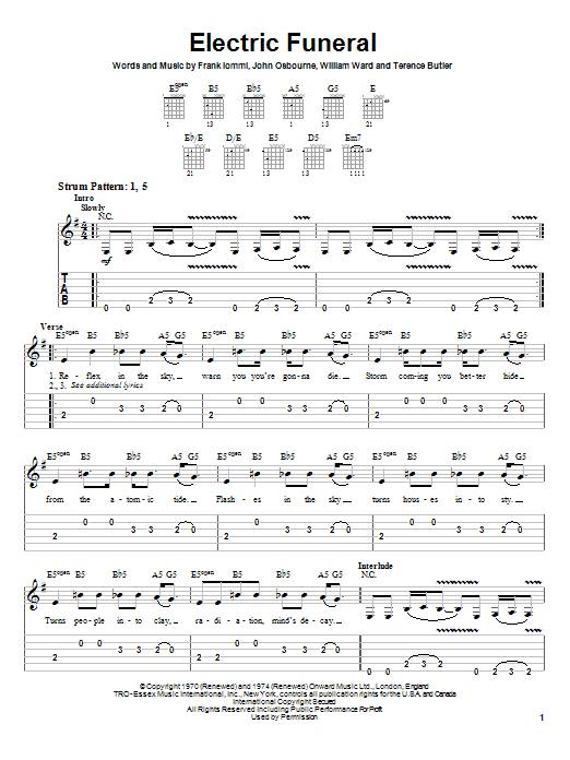 Black Sabbath Electric Funeral sheet music notes and chords. Download Printable PDF.