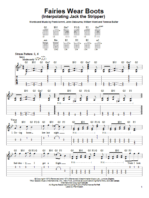 Black Sabbath Fairies Wear Boots (Interpolating Jack The Stripper) sheet music notes and chords