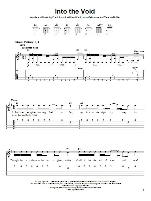 Black Sabbath Into The Void sheet music notes and chords. Download Printable PDF.