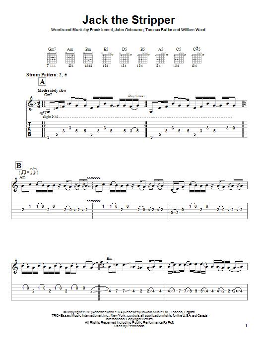 Black Sabbath Jack The Stripper sheet music notes and chords. Download Printable PDF.