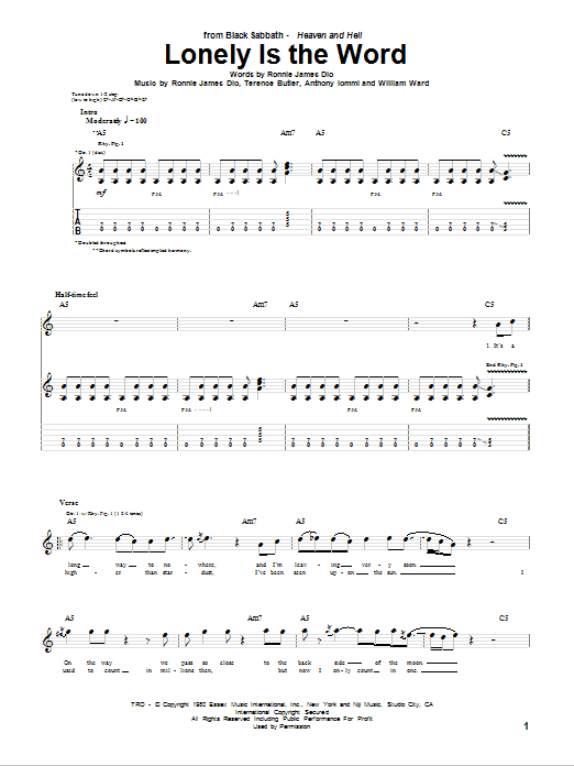 Black Sabbath Lonely Is The Word sheet music notes and chords