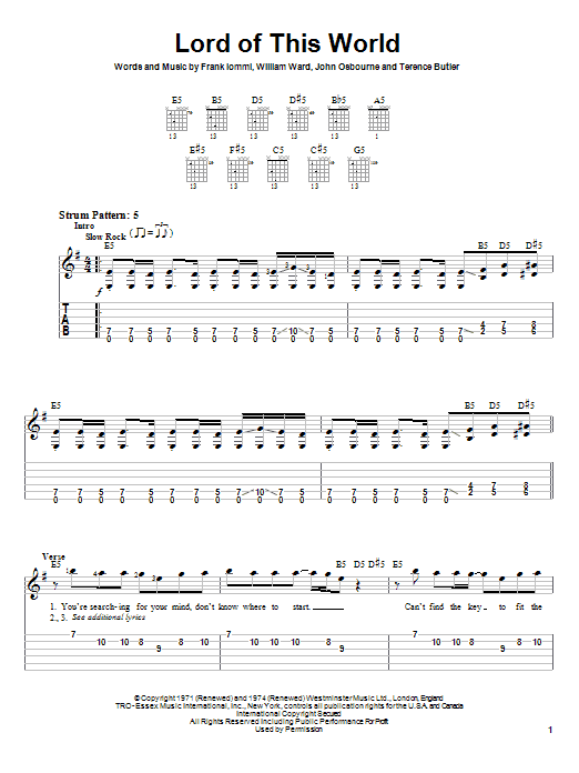 Black Sabbath Lord Of This World sheet music notes and chords