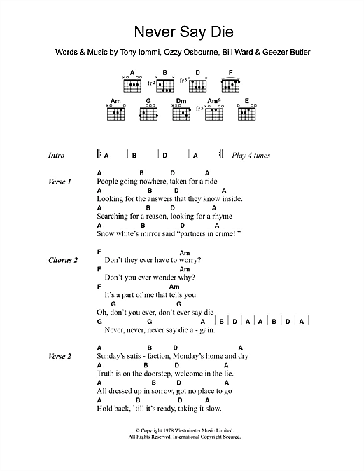Black Sabbath Never Say Die sheet music notes and chords. Download Printable PDF.