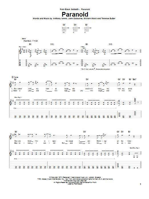 Black Sabbath Paranoid sheet music notes and chords. Download Printable PDF.