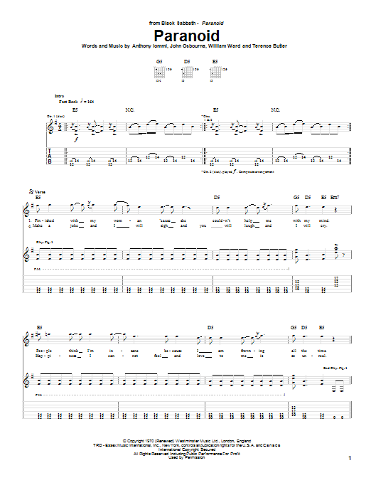 Black Sabbath Paranoid sheet music notes and chords. Download Printable PDF.