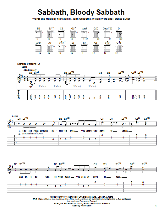 Black Sabbath Sabbath, Bloody Sabbath sheet music notes and chords