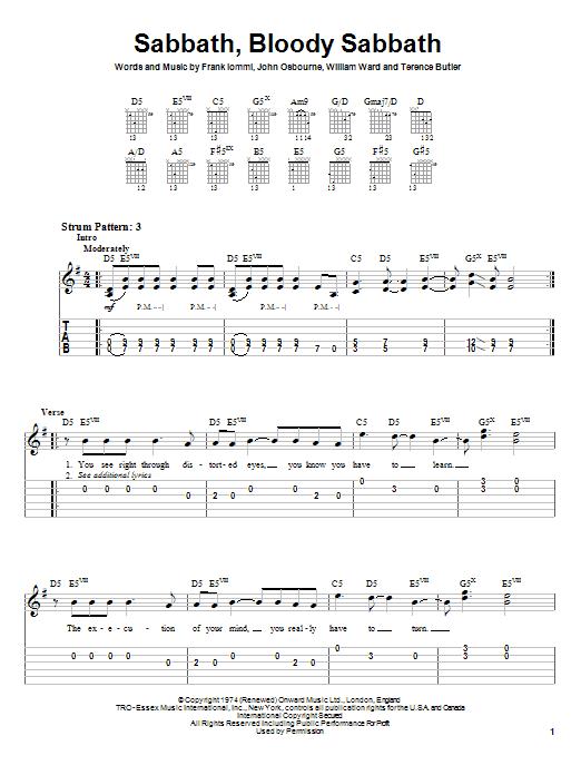 Black Sabbath Sabbath, Bloody Sabbath sheet music notes and chords. Download Printable PDF.