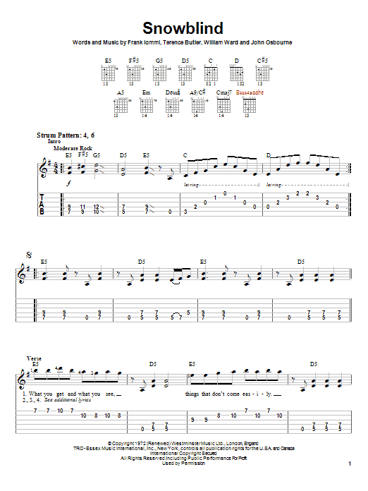 Black Sabbath Snowblind sheet music notes and chords
