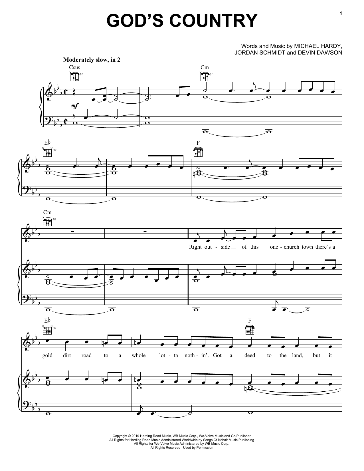 free country sheet music for guitar