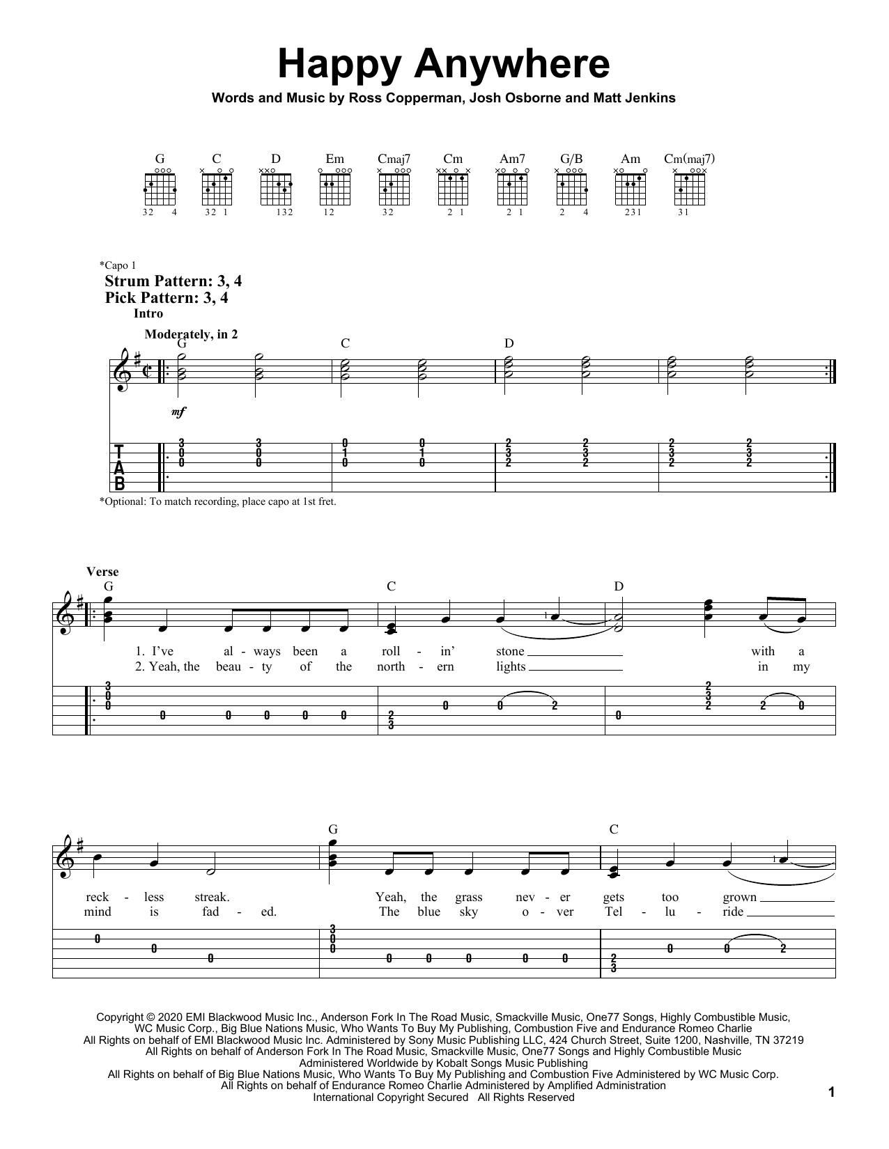 Blake Shelton Happy Anywhere feat. Gwen Stefani Sheet Music Notes, Chords    Download Printable Easy Guitar Tab PDF Score   SKU 15