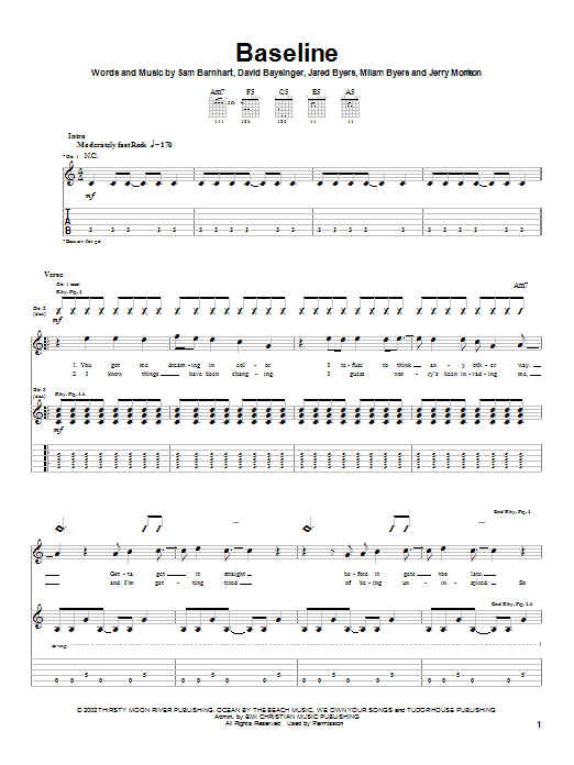 Bleach Baseline sheet music notes and chords. Download Printable PDF.