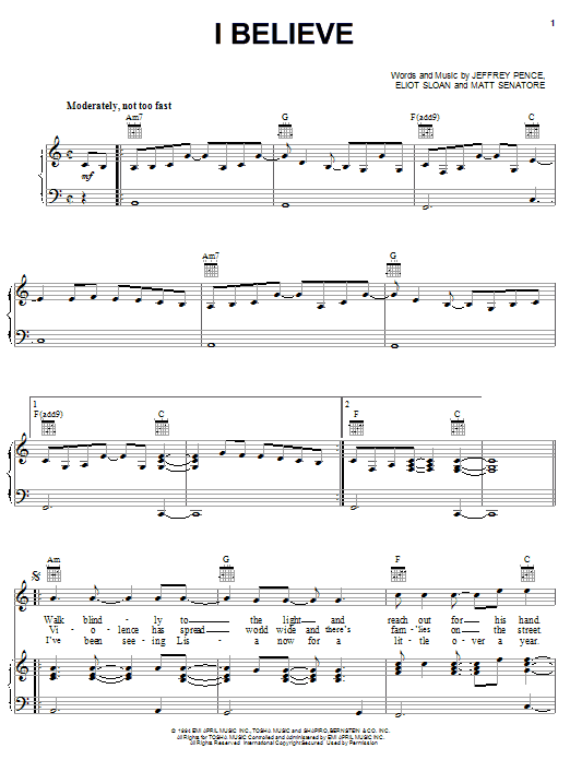 Blessid Union Of Souls I Believe sheet music notes and chords. Download Printable PDF.