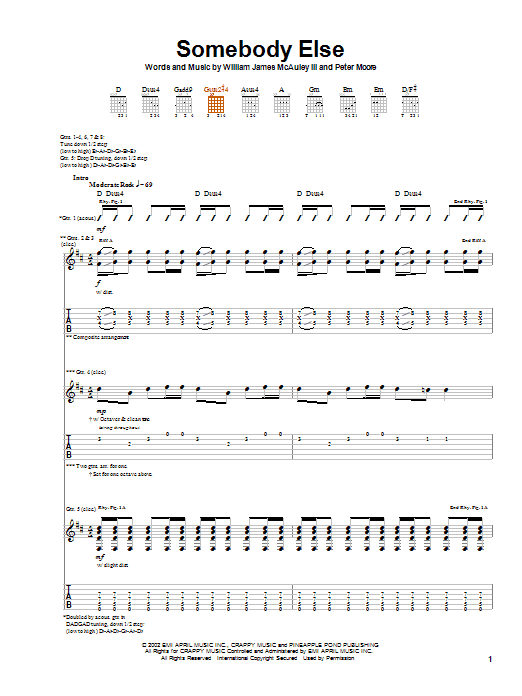 Bleu Somebody Else sheet music notes and chords. Download Printable PDF.
