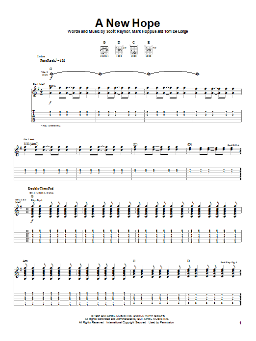 Blink-182 A New Hope sheet music notes and chords. Download Printable PDF.