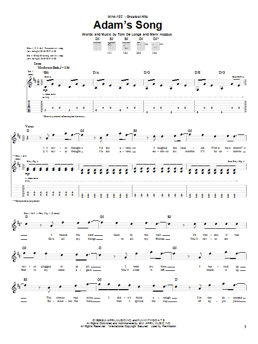 Blink-182 Adam's Song sheet music notes and chords. Download Printable PDF.
