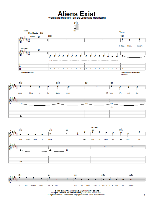 Blink-182 Aliens Exist sheet music notes and chords. Download Printable PDF.
