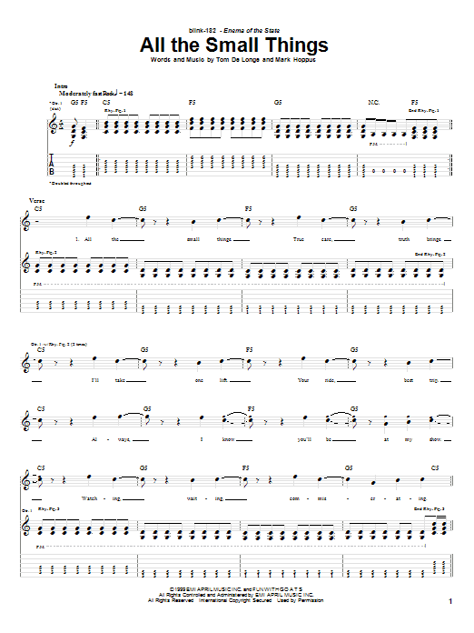Blink-182 All The Small Things sheet music notes and chords