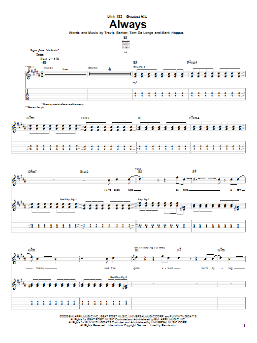 Blink-182 Always sheet music notes and chords