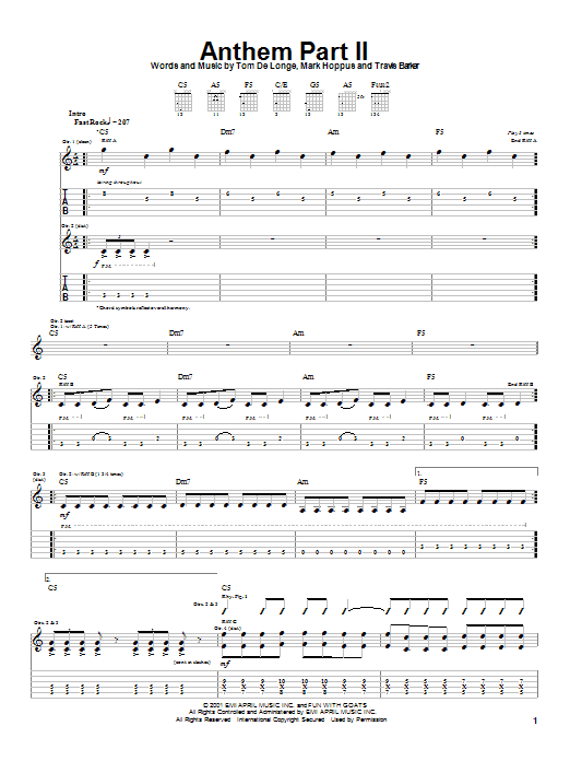 Blink-182 Anthem Part II sheet music notes and chords. Download Printable PDF.
