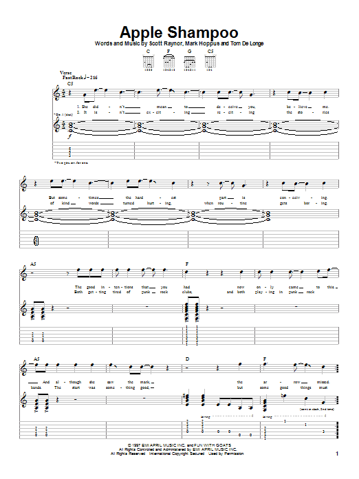 Blink-182 Apple Shampoo sheet music notes and chords. Download Printable PDF.