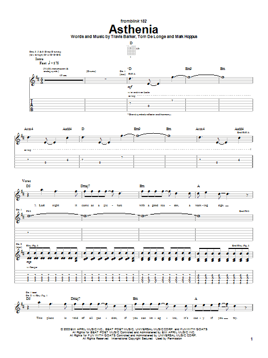 Blink-182 Asthenia sheet music notes and chords