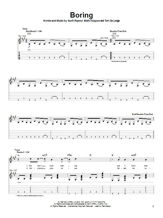 Blink-182 Boring sheet music notes and chords. Download Printable PDF.