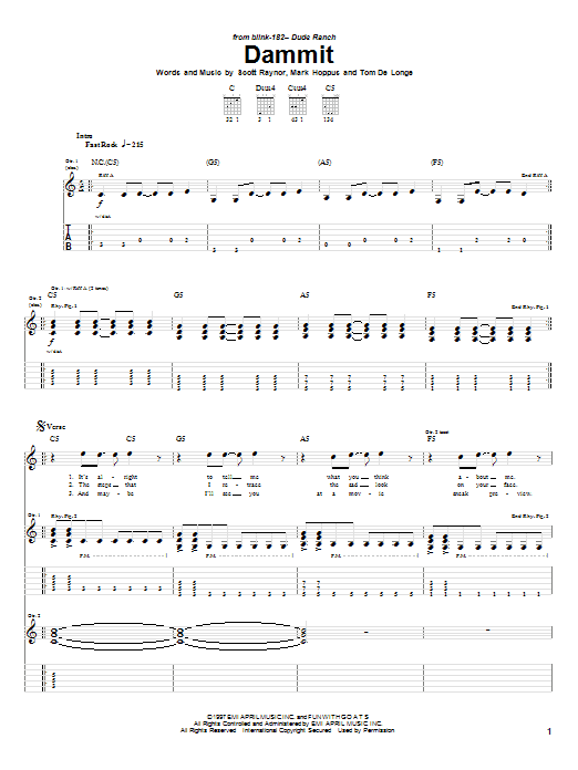 Blink-182 Dammit sheet music notes and chords