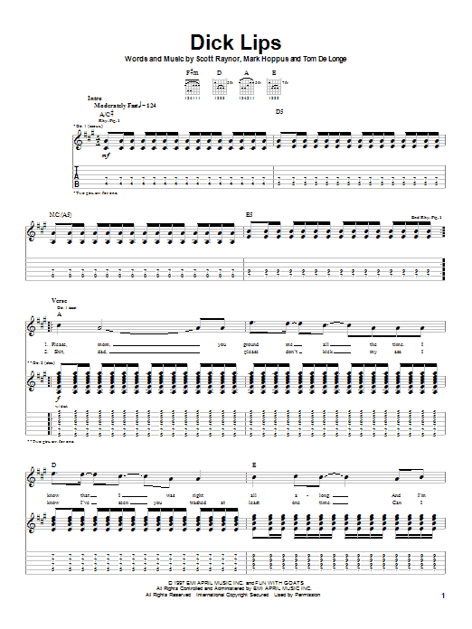 Blink-182 Dick Lips sheet music notes and chords. Download Printable PDF.