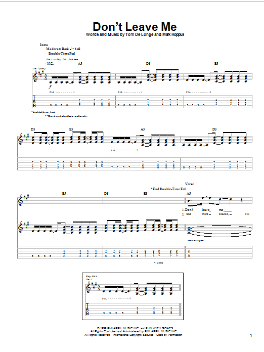 Blink-182 Don't Leave Me sheet music notes and chords