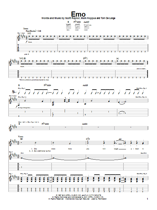 Blink-182 Emo sheet music notes and chords. Download Printable PDF.