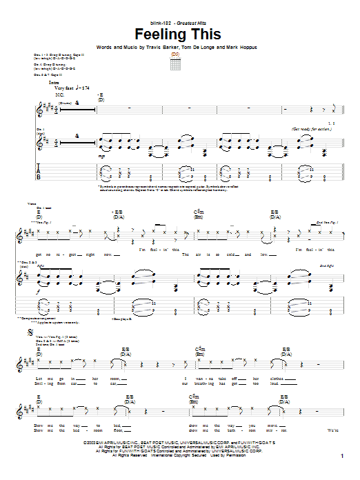 Blink-182 Feeling This sheet music notes and chords. Download Printable PDF.