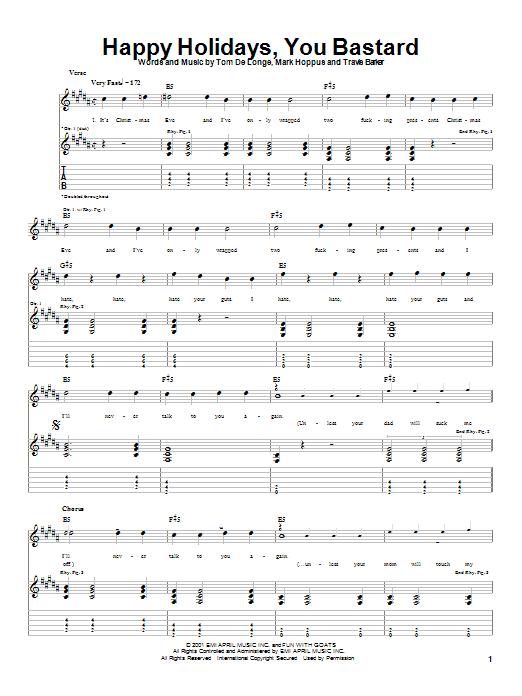Blink-182 Happy Holidays, You Bastard sheet music notes and chords. Download Printable PDF.