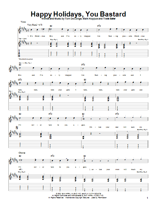 Blink-182 Happy Holidays, You Bastard sheet music notes and chords. Download Printable PDF.