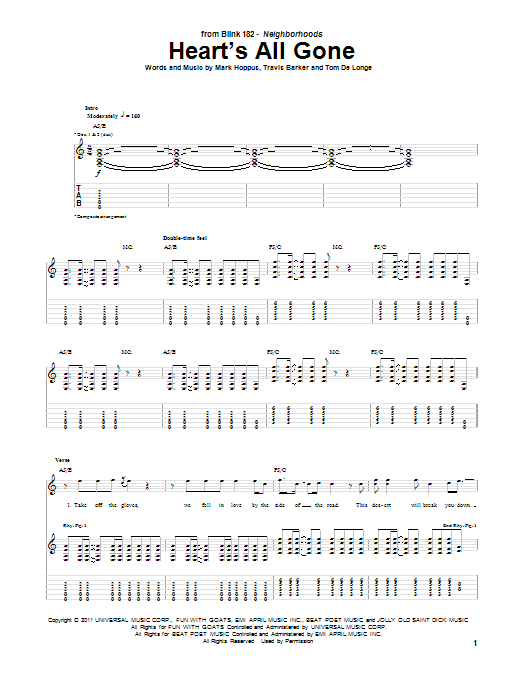 Blink-182 Heart's All Gone sheet music notes and chords. Download Printable PDF.