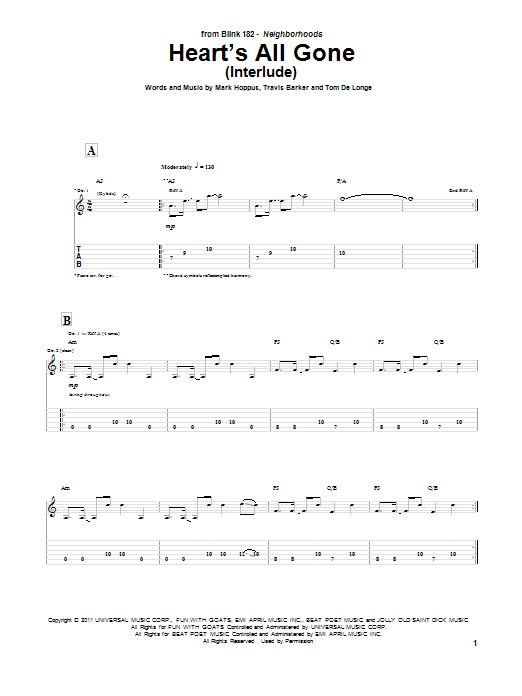 Blink-182 Heart's All Gone (Interlude) sheet music notes and chords. Download Printable PDF.