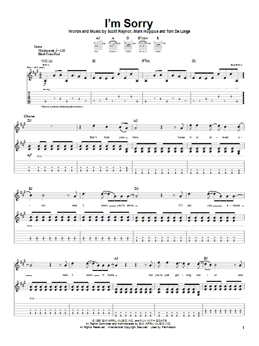 Blink-182 I'm Sorry sheet music notes and chords. Download Printable PDF.