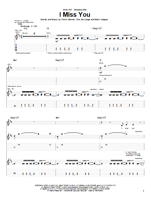 Blink-182 I Miss You sheet music notes and chords. Download Printable PDF.
