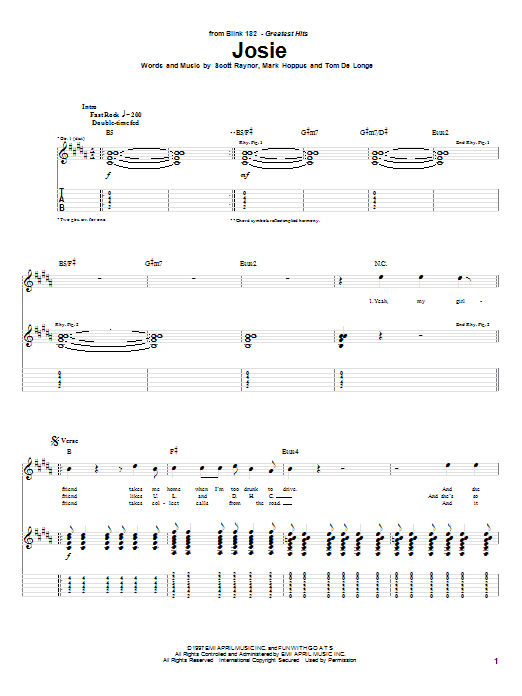 Blink-182 Josie sheet music notes and chords. Download Printable PDF.