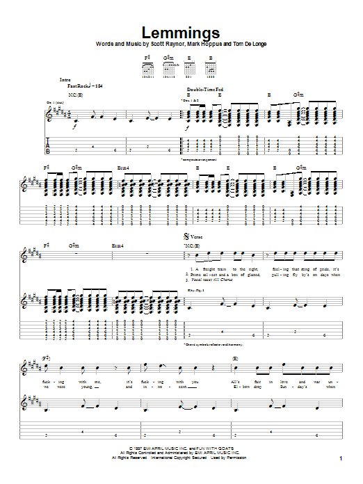 Blink-182 Lemmings sheet music notes and chords