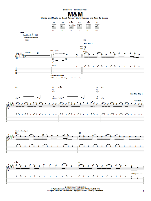 Blink-182 M&M sheet music notes and chords. Download Printable PDF.