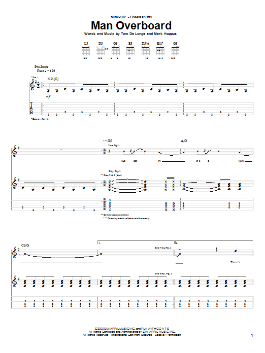 Blink-182 Man Overboard sheet music notes and chords. Download Printable PDF.