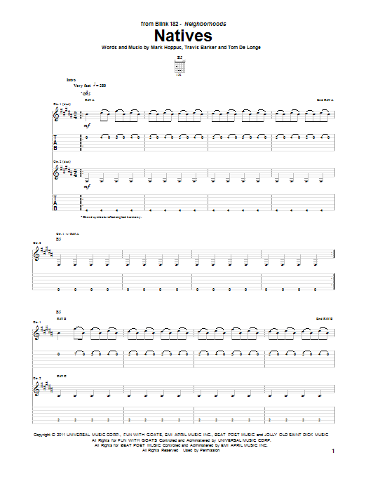 Blink-182 Natives sheet music notes and chords. Download Printable PDF.