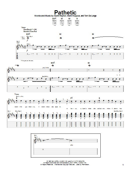 Blink-182 Pathetic sheet music notes and chords. Download Printable PDF.