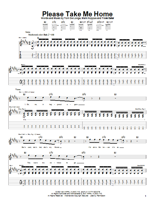 Blink-182 Please Take Me Home sheet music notes and chords. Download Printable PDF.
