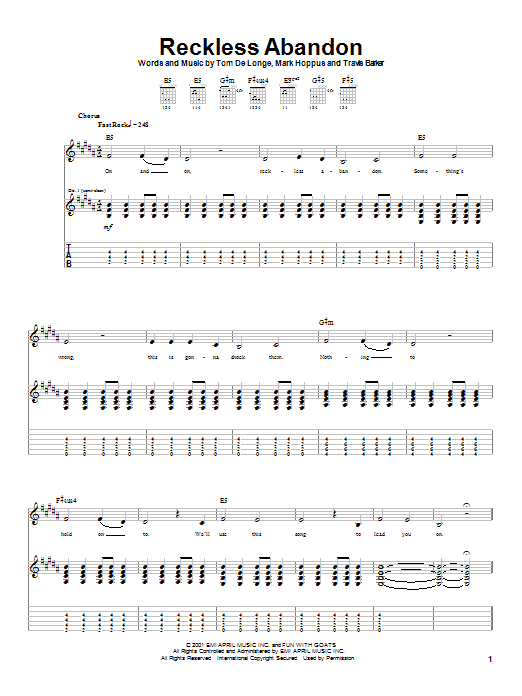 Blink-182 Reckless Abandon sheet music notes and chords. Download Printable PDF.