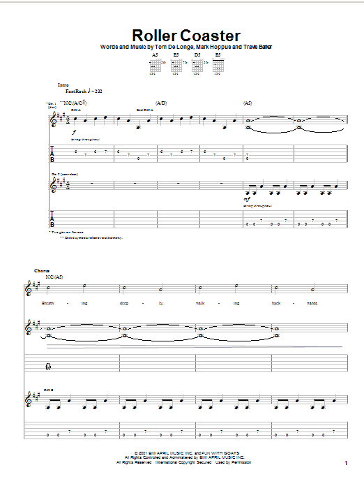 Blink-182 Roller Coaster sheet music notes and chords. Download Printable PDF.
