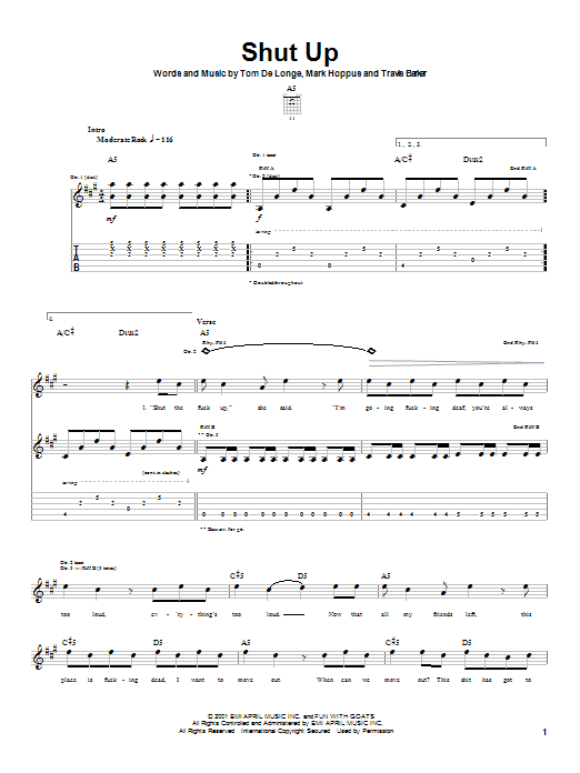 Blink-182 Shut Up sheet music notes and chords. Download Printable PDF.
