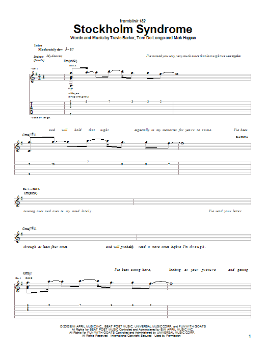 Blink-182 Stockholm Syndrome sheet music notes and chords. Download Printable PDF.