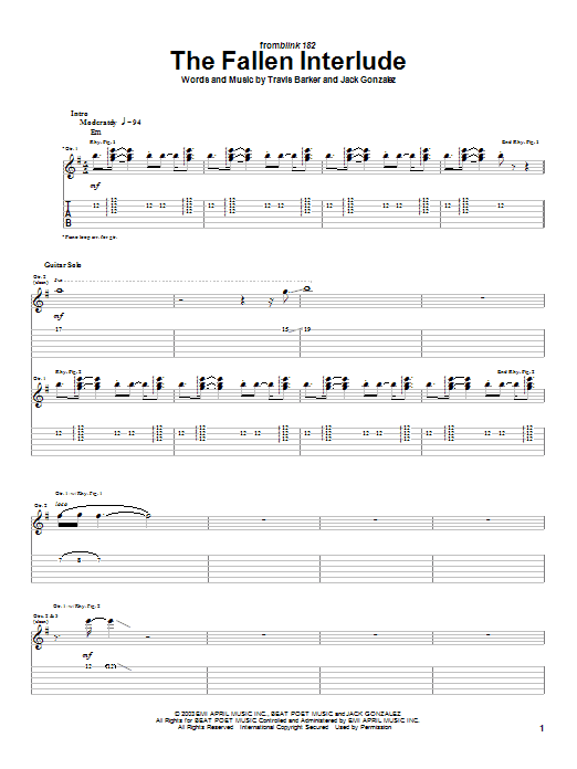 Blink-182 The Fallen Interlude sheet music notes and chords
